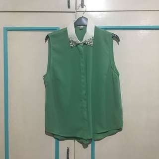 Studded teal sleeveless top
