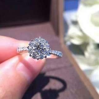 18K白金鑽石戒指,主石20左右