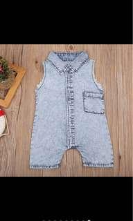 Baby boy kid infant newborn toddler jeans denim jumpsuit bodysuit romper