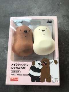 熊仔葫蘆型粉樸兩個 化妝工具$20