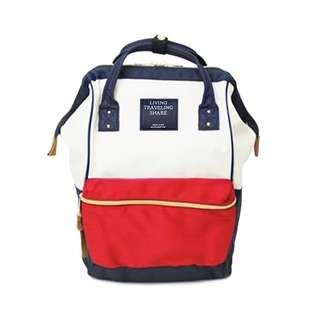 LIVING TRAVELING SHARE 紅白藍 牛津後背包 雙肩 後背包