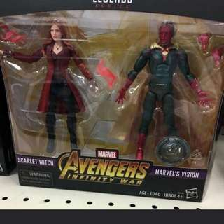 慢貨再販 預訂: 反斗城限定 vision &scarlet witch. 2 pack. Marvel legends