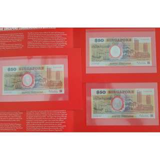 3 x $50 Polymer Singapore 25th Anniversary in Folder UNC