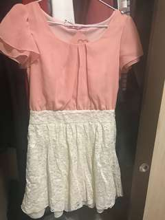 甜美系拼接洋裝。全新