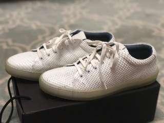 Massimo Dutti White Snakeskin Sneakers