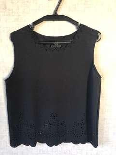 Black sleeveless scallop top