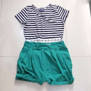 Bundle: 6ixty 8ight Crop Top and Green Short