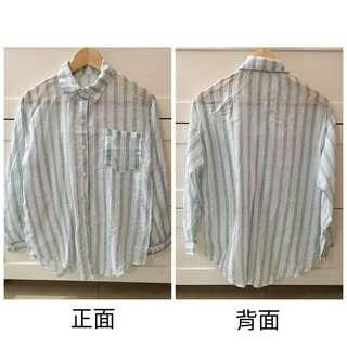 白綠直條薄襯衫