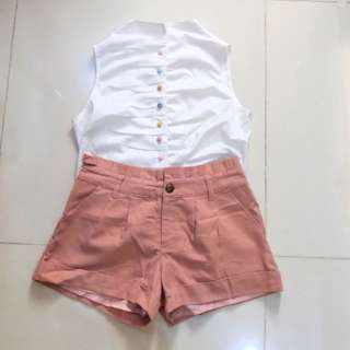 Bundle: Button down top and Old Rose Short