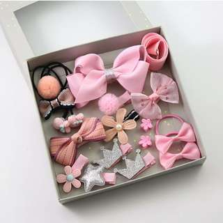 BN 17pcs Girls' Assorted Flower Hair Tie Bow Clips Accessories Gift Set