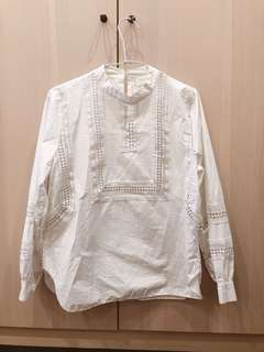 鏤空白襯衫