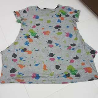 Maternity Grey T-shirt with color patches