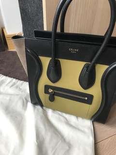 99% New Celine Chartreuse Green Nubrick Mini Luggage Tote Bag