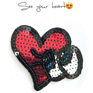 Bn sequins love iron on patch