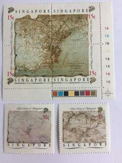 Singapore 1988 old maps mnh