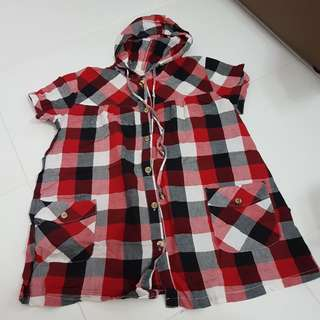 Maternity Red Checkered Hoodie