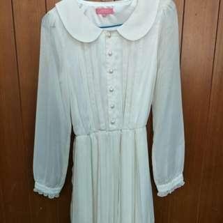 雪紡白色洋裝