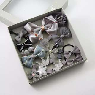 BN 17pcs Girls' Assorted Flower Hair Tie Bow Clips Accessories Gift Set ~ Silver/Grey