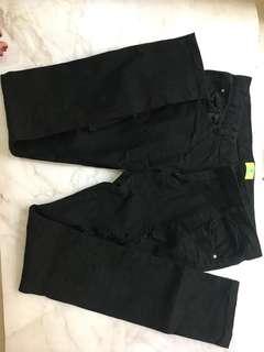 刷破長褲 黑色
