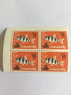 Singapore 1981 4cts tiger barb in blk of 4 mnh