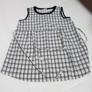 Maternity Black & White Checkered blouse