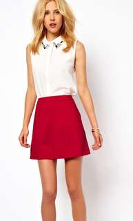 Asos a-line skirt, red, size 10