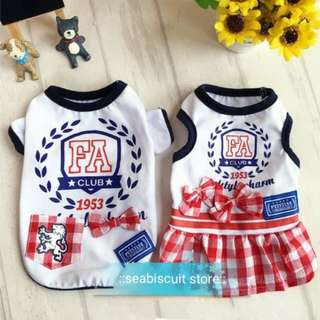Brand New Pet Clothings ~ Sporty Jersey Couple Dress & Tee