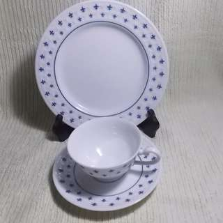 Fine China Cake Plate and Tea Set
