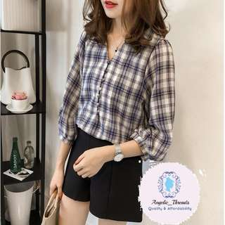(Ready Stock KL) Woman Blouse Long Sleeve Shirt Korean Top V Neck Checker Korean Top