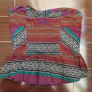 Charlotte Russe Tribal print strapless Pleplum top