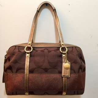 Authentic Coach Signature Stripe Zip Satchel Bag