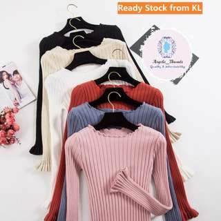 (Ready Stock KL) Woman Blouse Long Sleeve Shirt Office Top Trumpet Sleeve Knitwear Korean Fashion