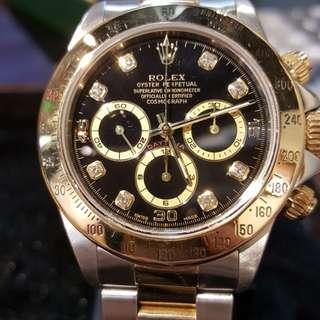 Rolex  地通拿 16523g 真力時機芯,罕有黑面石字  尖沙咀,重慶站商場202號舖 ,留金歲月