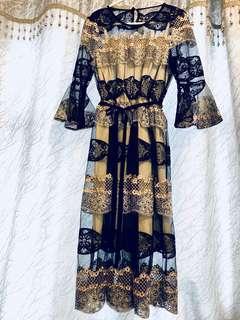 通花刺繡中袖連衣裙
