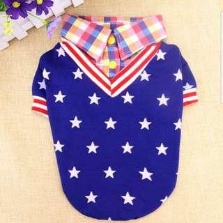 Brand New Pet Clothings ~ Stars & Checkered Polo Tee-Shirt