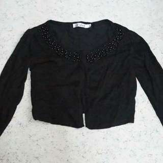 Black cropped bolero sweater