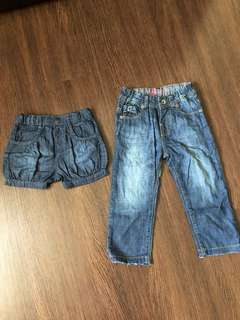 Pre-loved girls denim shorts and pants