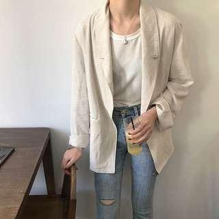 單釦棉麻西裝外套