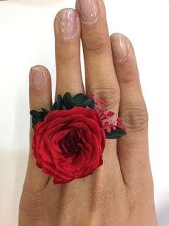 保鮮花戒指-大紅色