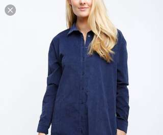 Rue21深藍色燈芯絨黑扣長袖襯衫