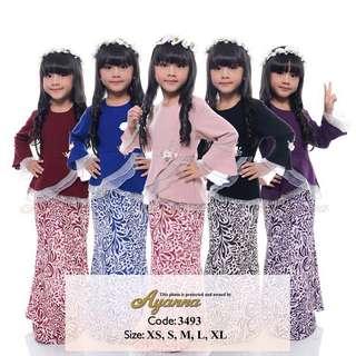 XS - XL Beads Baju Kurung organza budak girls raya 2018 fashion 3493