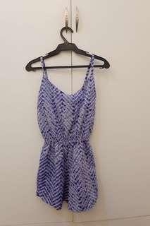 blue & white sleeveless romper