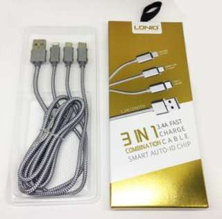 Premium LDNIO 3 in 1 Fast Charge Cable *Smart Auto ID Chip