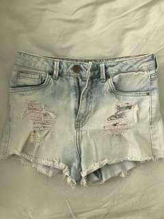 Bershka High waist light blue denim ripped short