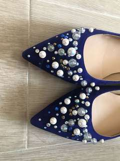 Blue Pumps with beautiful beads
