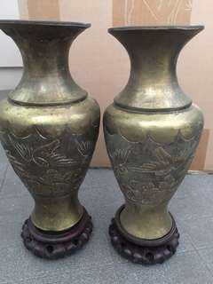 Antique Copper Vases with wooden base