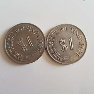 1967 & 1971 old $1 coin