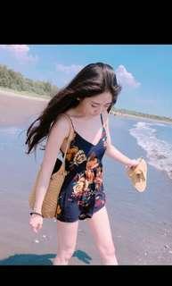 海邊度假V領印花露背連身褲裙