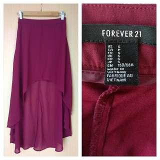 Forever 21 Red Flowy Assymetric Skirt