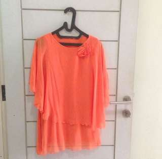 Orange blouse see through top assymetrical blouse